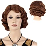 """STfantasy Finger Wave Wig Ombre Brown Bob Short Curly for Women Cosplay Party Costume Hair 12"""""""