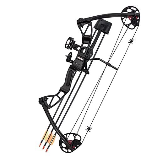 SAS 25-55 Lb 20-29'' Adjustable Quad Limb Compound Bow Package With 3-pin Sight, Arrow Rest, Quiver and Arrows