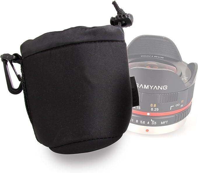 Compatible with Nikon AF//AF-S Nikkor Lenses DURAGADGET Large Black Neoprene Padded Carry Case