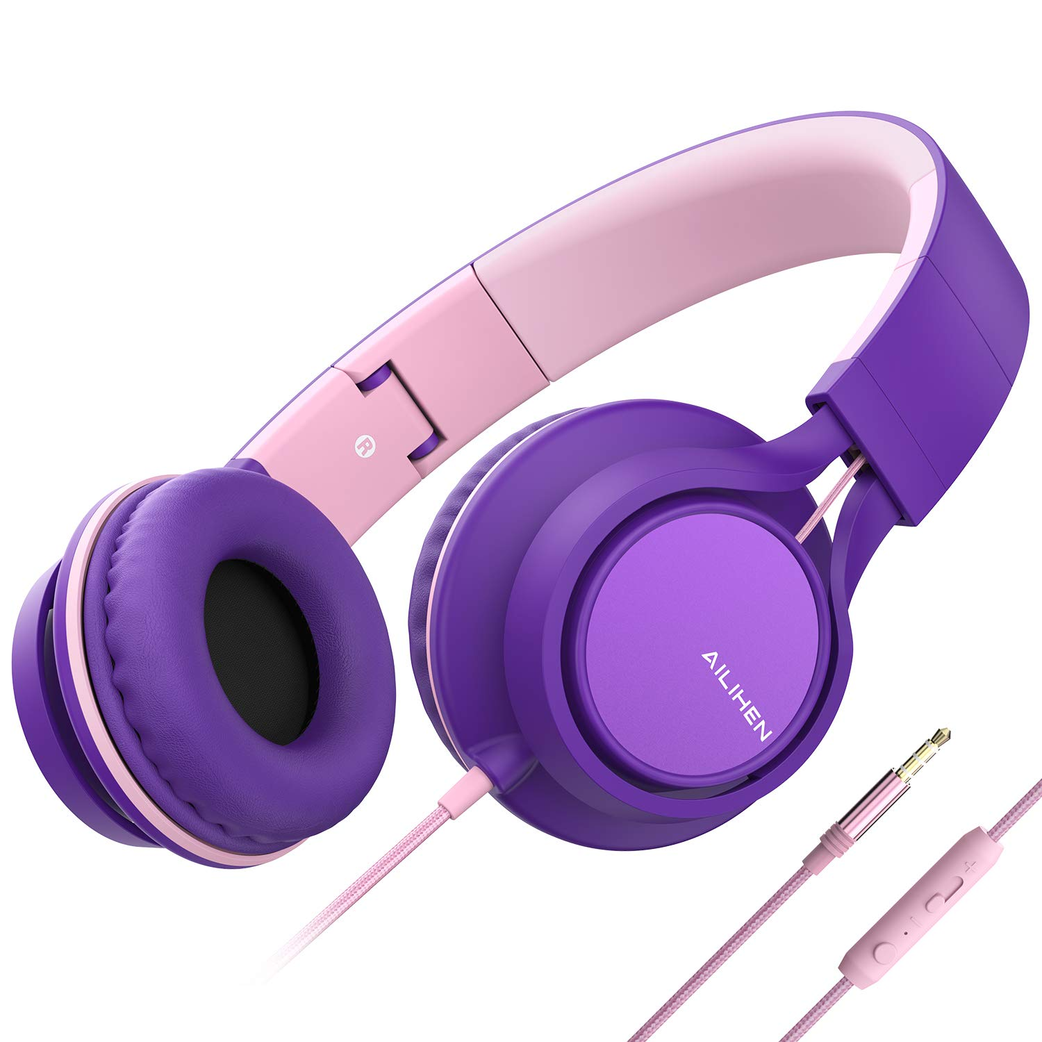AILIHEN C8 Headphones with Microphone and Volume Control Folding Lightweight Headset for Cellphones Tablets Smartphones Laptop Computer PC Mp3/4 (Purple Pink)