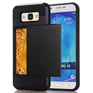 san francisco f738e aa022 Samsung Galaxy A5 (2017) Wallet Case, Galaxy A5 (2017) Card Holder Case,  Hybrid Rugged Case Hard Shell Slide Cover with Card Storage for 5.2''  Samsung ...