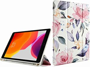 """iPad Air (3rd Gen) 10.5"""" 2019/iPad Pro 10.5 2017 Case 2019 Soft TPU Cover Auto Wake/Sleep Folio Folding Stand with Built-in Pencil Holder PU Leather Protective Smart Cover for iPad 10.5 Inch-White"""