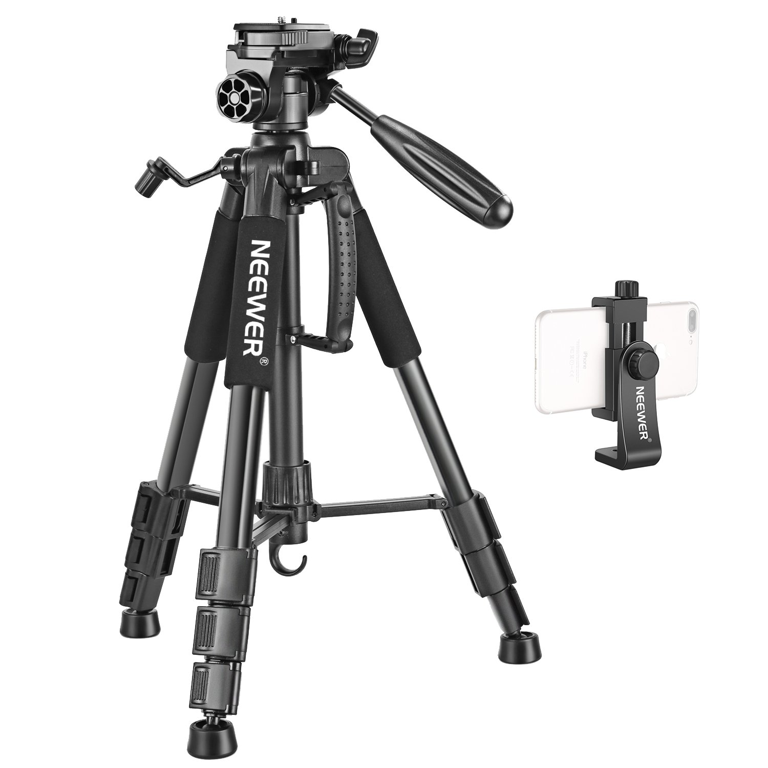 Neewer Travel Aluminum Camera Tripod 56 inches with 3-Way Swivel Pan Head and Smartphone Holder, Compatible with Canon Nikon DSLR Camera, DV Video Camcorder, iPhone and Android Smartphone (Black)