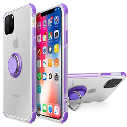iPhone 11 Case 6.1 inch 2019, Anti Scratch Soft TPU Full Body Clear Case  with 360 Degree Rotation Ring Kickstand(Work with Magnetic Car Mount) for