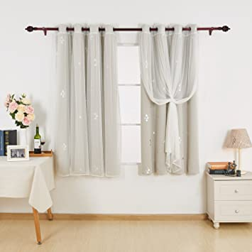 Deconovo Mix And Match Curtain Triangle Printed Blackout Curtains Panels Cream Tulle Lace White Sheer
