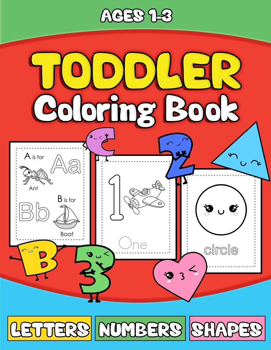 Toddler Coloring Book Letters Numbers Shapes Preschooler