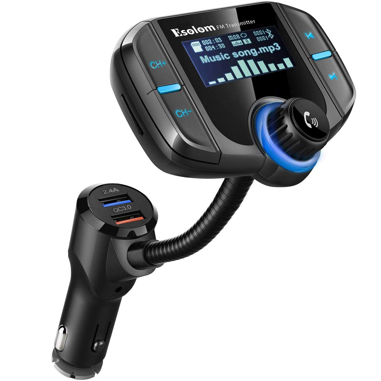 Bluetooth Fm Transmitter Esolom Wireless Car Stereo Also With Simple Radio Circuit Adapter Receiver Hands Free Calling Kit 17 Display Qc30 Smart 24a