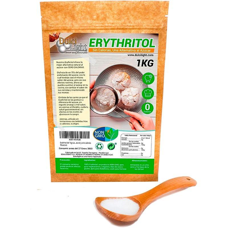 Eritritol 100% Natural Envase Ecologico 1Kg Edulcorante Cero Calorias   Ideal para Reposteria, y Dietas  DULCILIGHT el sabor natural del azúcar.