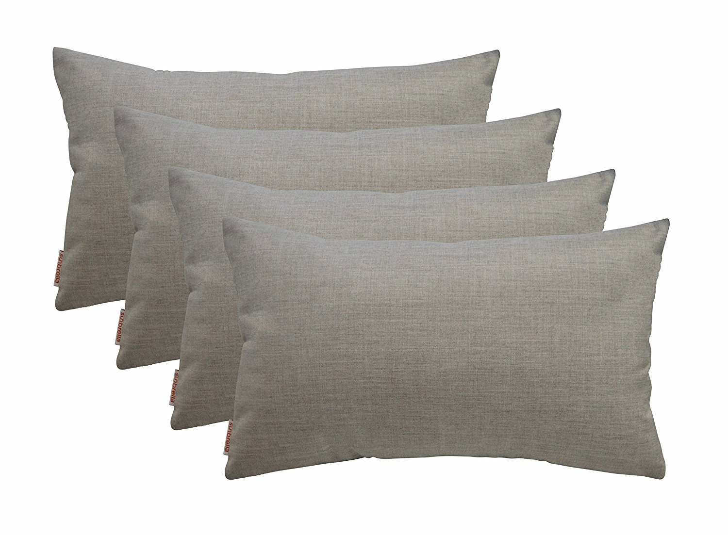 RSH Décor Set of 4 Indoor/Outdoor Decorative Throw Pillows Sunbrella Cast Silver - 12'' x 20''