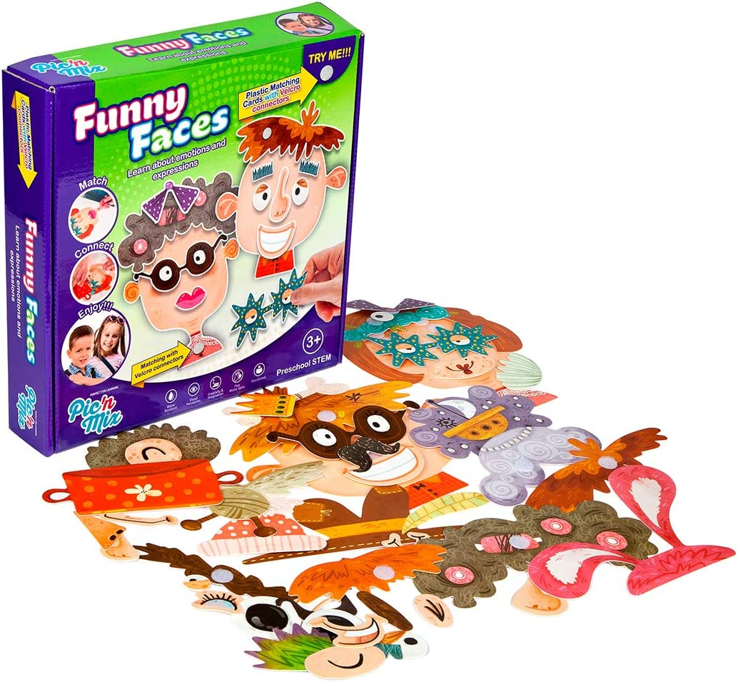 Funny Faces Educational Puzzle – 58 Piece Plastic Cards Preschool Games for Creativity, Fine Motor Skills, Emotion Recognition Durable, Waterproof Montessori Board Toddler Games for 3 and up
