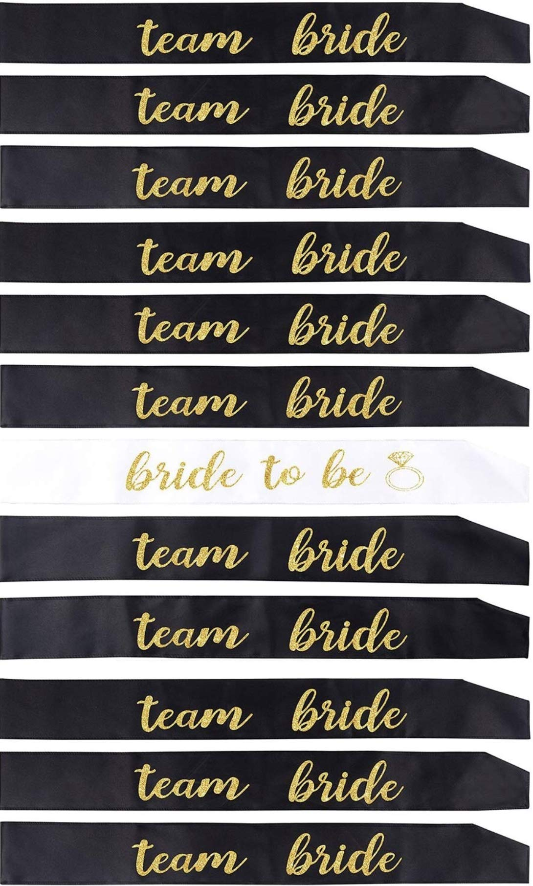12 Pack Bachelorette Party sash Set/Bride to be sash/Bridesmaid sash, Team Bride or Bride Tribe sash as Bridal Shower Decorations, Bachelorette Party Favors or Supplies, Maid of Honor Gifts. by Gemich (Image #1)