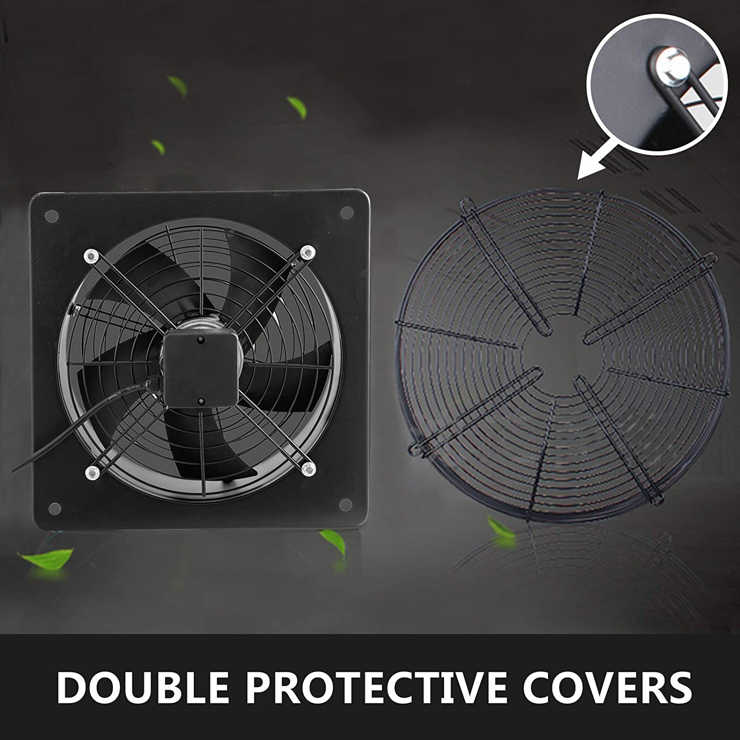 FlowerW Industrial Extractor Metal Axial Exhaust Ventilation Commercial Air Blower Fan 305MM//12 Inches 4 Pole Uter Rotor Fan 2200m3//h for Garage Home Bathroom Kitchen