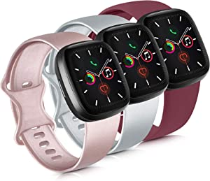 Mugust 3 Pack Sport Bands Compatible with Apple Watch Band 38mm 42mm 40mm 44mm, Soft Silicone Replacement Strap for iWatch Series 5 4 3 2 1 (.Rose Gold/Silver/Wine Red, 38mm/40mm-M/L)
