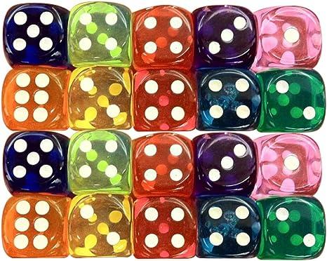 Tonewan Dados Transparentes de acrílico de Colores, Dados púrpuras Amarillos Verdes Azules Rojos de 6 Lados para el Juego de Mesa de Beber: Amazon.es: Deportes y aire libre