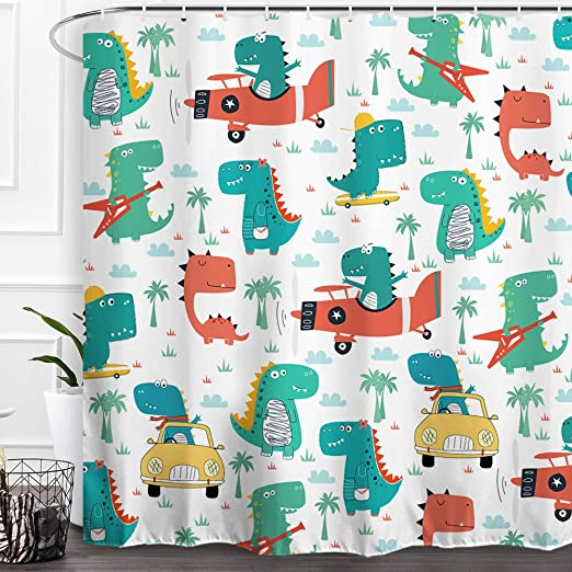 Baccesor Dinosaur Shower Curtain Cartoon Funny Cute Animal Fairy Tale Pattern Waterproof Fabric Bathroom Curtain Decor with Hooks for Boy Baby Kids Children 60 W x 72 Cool Dinosaur