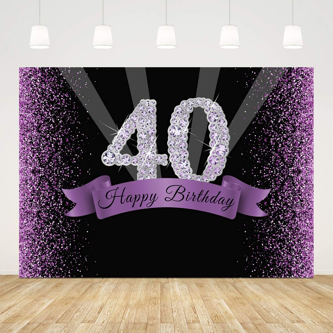 Happy 40th Birthday Backdrops for Photography Glitter 40 Birthday Photo Background 7x5ft Shiny Diamonds Black and Purple 40th Birthday Backdrop for Women Men Cake Table Banner Forty Photo Booth Props