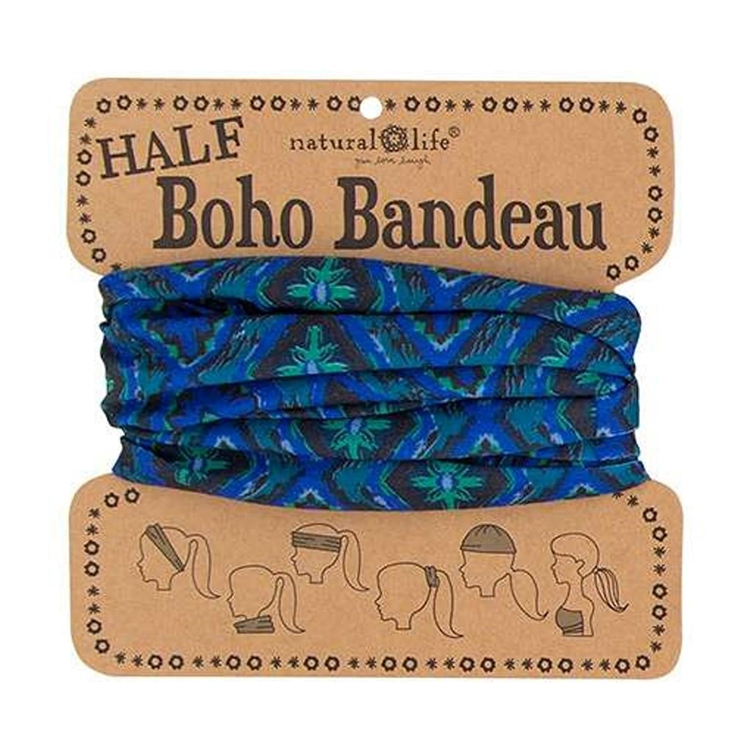 Natural Life Women's Half Boho Bandeau, Navy/Green, One Size