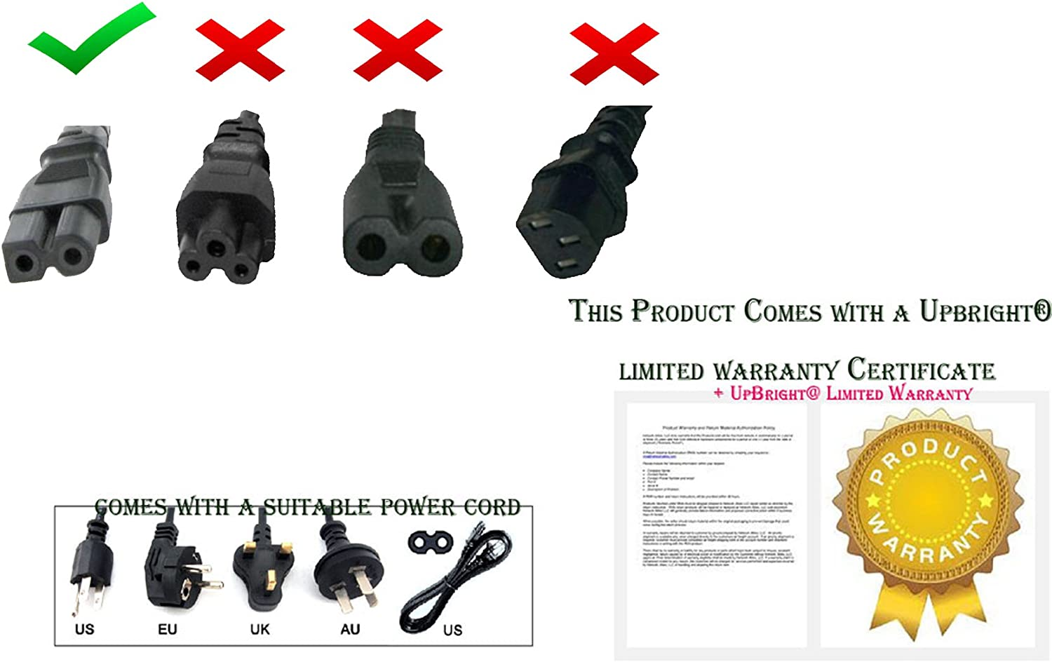 UpBright AC IN Power Cord Cable For SINGER Sew Mate Sewing Machine Series 5400 5500 5625 6160 120 125 130 135 140 145 150 153 155 160 163 165 170 180 185 190 200 220 Brother 845 NS40 FS40 NV1000 NX600