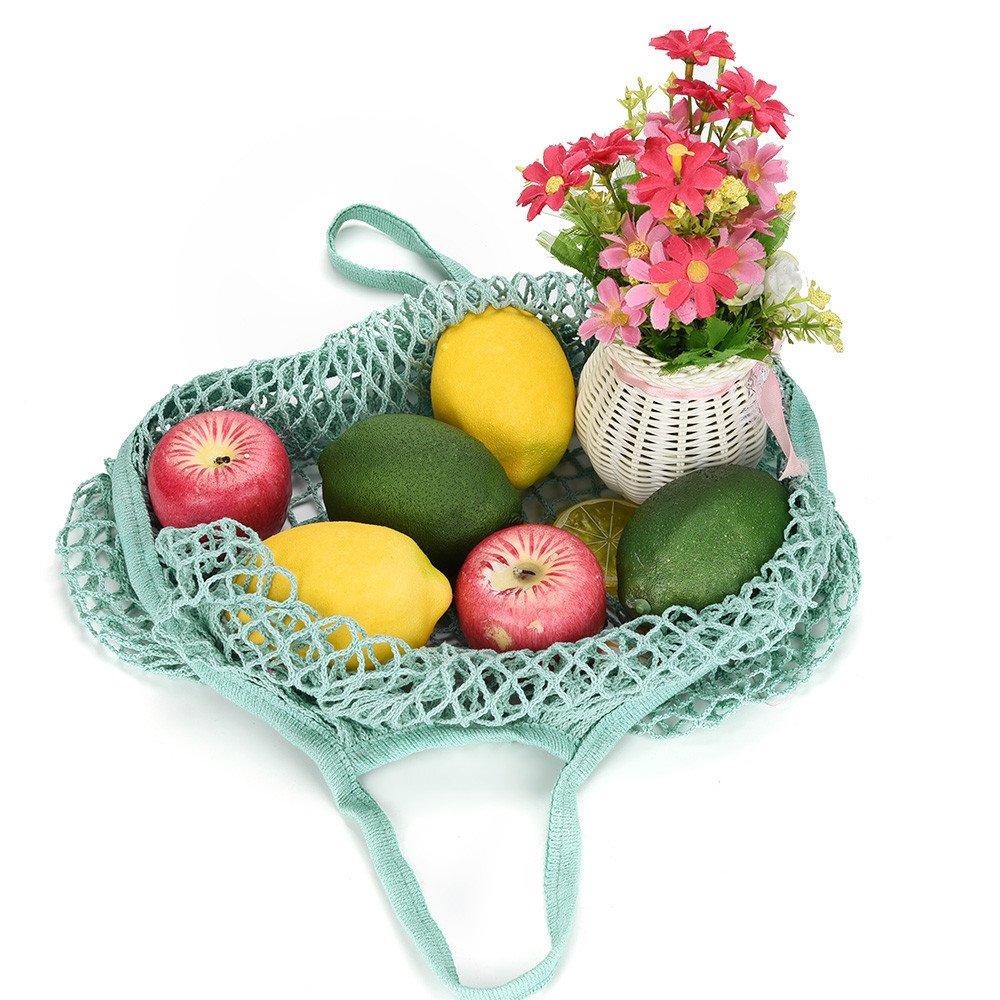CapsA Net Shopping Bag Cotton Market String Washable Reusable Net Shopping Tote Long Handles Fruit Storage Handbag (Green)