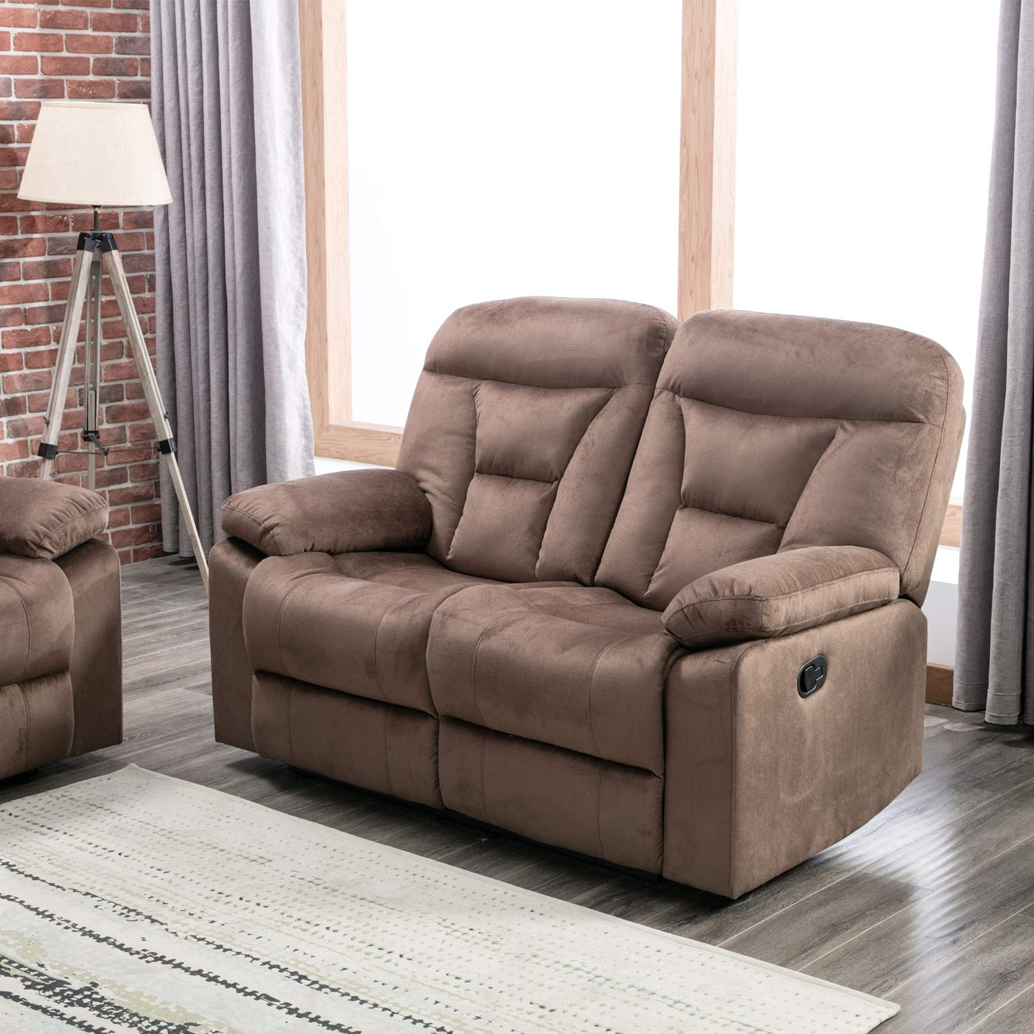 Canmov soft warm microfiber velvet recliner sofa living room chair motion sofa recliner couch manual reclining sofa loveseat 2 seater with overstuffed