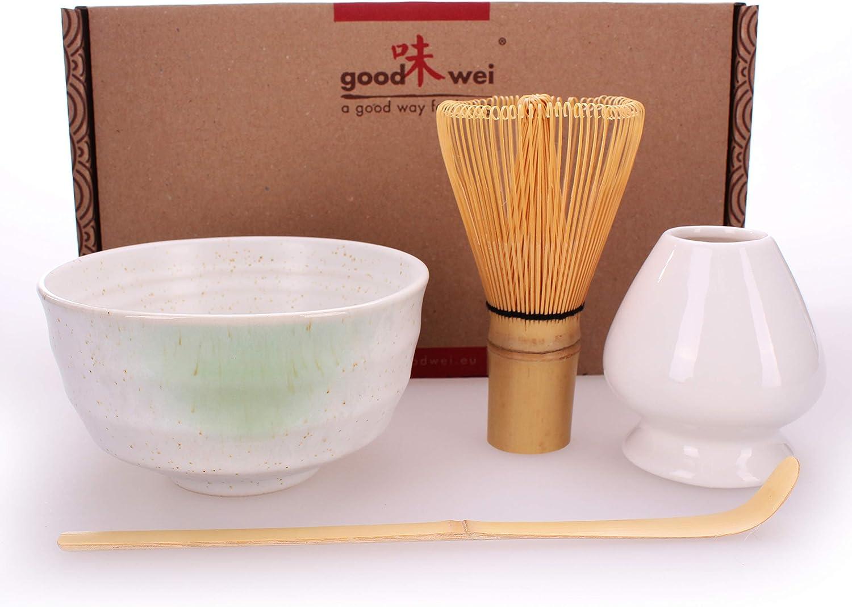 blanco batidor y soporte incl Caja de regalo /… Goodwei Juego de t/é Matcha para dos Bol de t/é