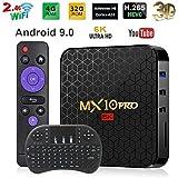 Android TV Box 9.0 Smart TV Box 4GB 64GB MX10 Pro Support USB 3.0 BT 4.1 2.4G- 5G Dual-Band Wi-Fi 3D 4K Full HD H.265 100M Ethernet Android Mini PC with Wireless Keyboard Remote TTV Box