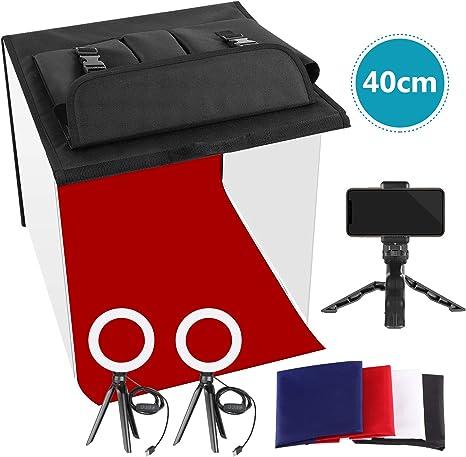 Neewer Foto Estudio Caja 40x40cm Table Top Foto Luz Caja Kit de Iluminación Continua con 3