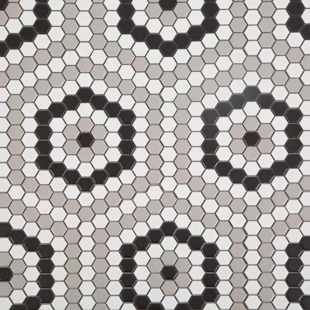 Soulscrafts Porcelain Ceramic 1 Inch Hexagon Mosaic Tile for Kitchen Backsplash Bathroom Wall & Floor Tile (White, Black & Grey Mixed;10 Sheets/Box)