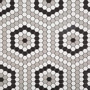 Soulscrafts Porcelain Ceramic 1 Inch Hexagon Mosaic Tile For Kitchen Backsplash Bathroom Wall Floor Tile White Black Grey Mixed 10 Sheets Box Amazon Com