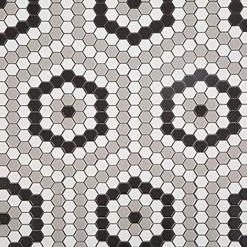 Soulscrafts Porcelain Ceramic 1 Inch Hexagon Mosaic Tile For Kitchen Backsplash Bathroom Wall Floor Tile White Black Grey Mixed 10 Sheets Box Amazon Com
