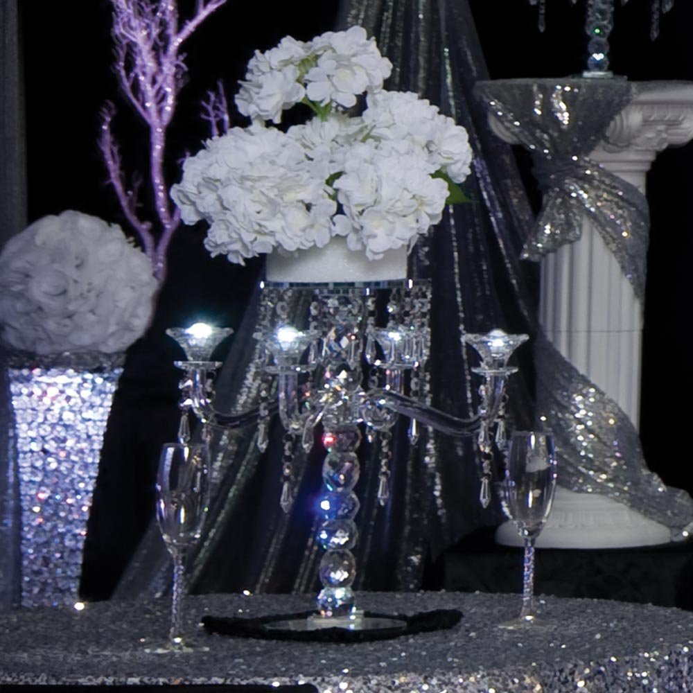 TCDesignerProducts Crystallina Candelabra Centerpiece Kit, 25 Inches High, Crystal Prisms and Hydrangea Prom Décor by TCDesignerProducts