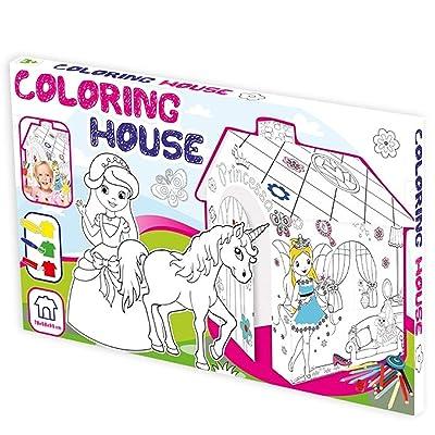 Casa de Juegos de Cartón Princesa Casa de Cartón para Pintar Casa Juguete de Cartón: Juguetes y juegos