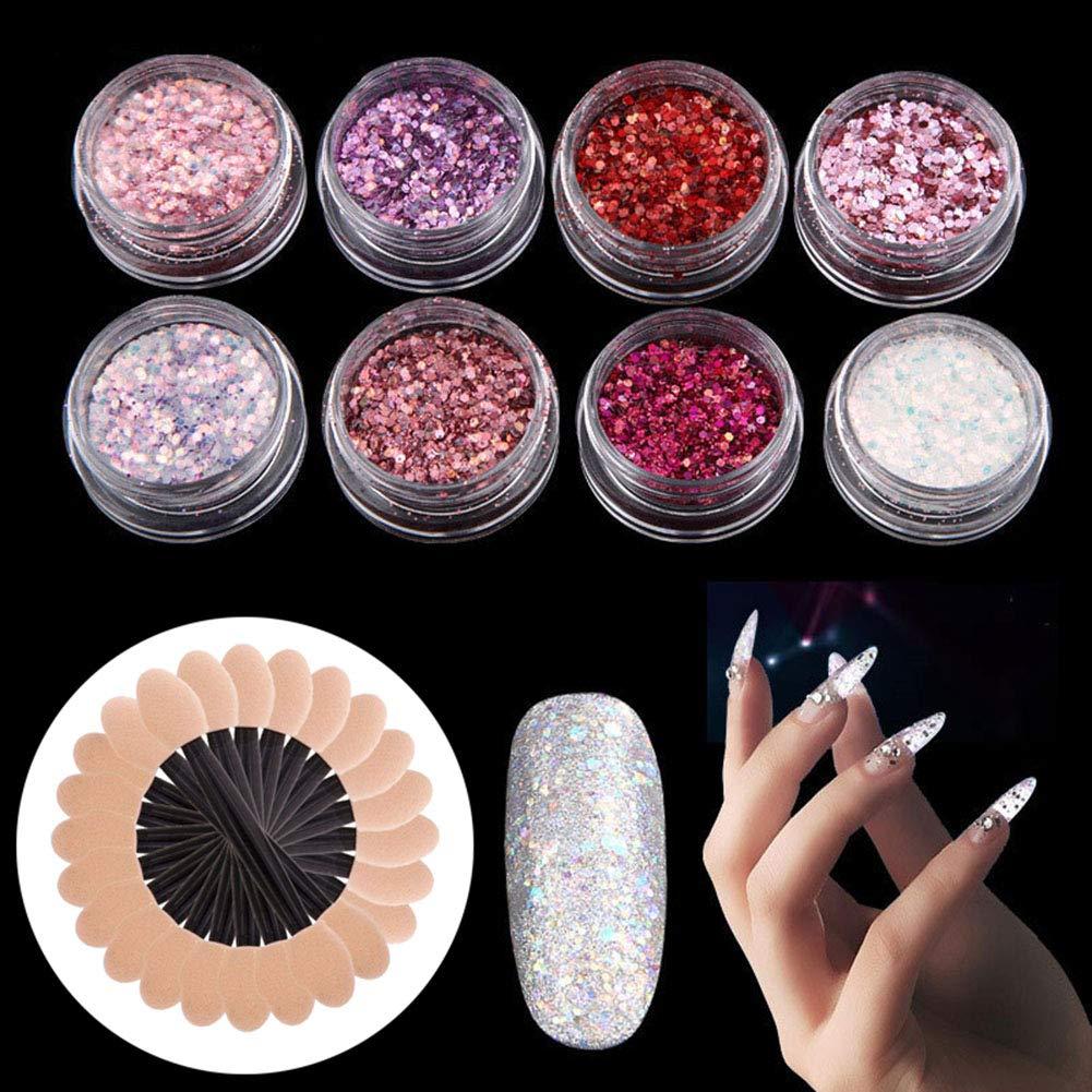 WOKOTO 8Pcs Nail Art Glitter Powder Dust With Different Colors And 12Pcs Sponge Sticks Kit Rose Gold Purple Red Nail Sequins Flakes Set HengXing