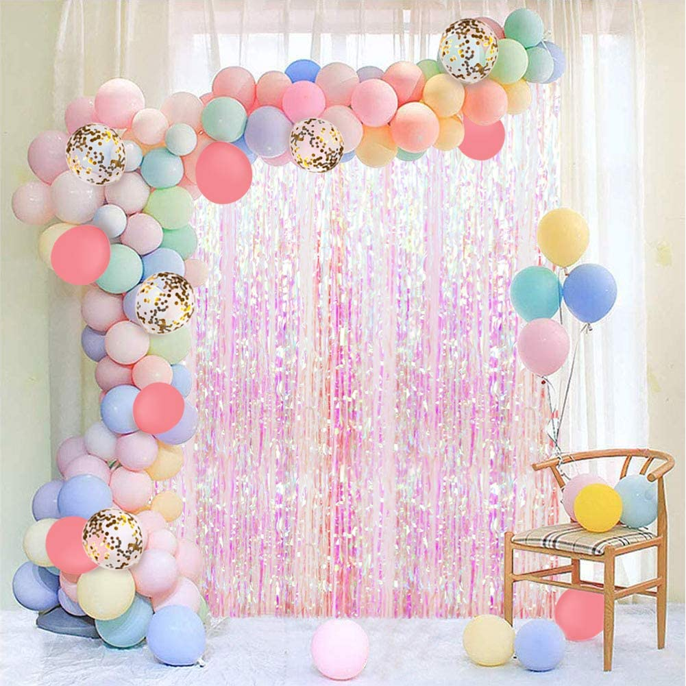 Pastel Balloon Garland Kit 202Pcs Rainbow Macaron Balloons Arch Kit with White Foil Fringe Curtain for Birthday Party Baby Shower Decorations