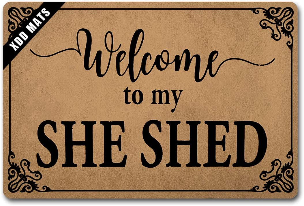 XDD Funny Rug Entryway Front Door mats Welcome to My She Shed Doormat Monogram Welcome Door Rugs Indoor Nonslip Non-Woven Fabric Top with a Anti-Slip Rubber Back 23.6 X 15.7 in
