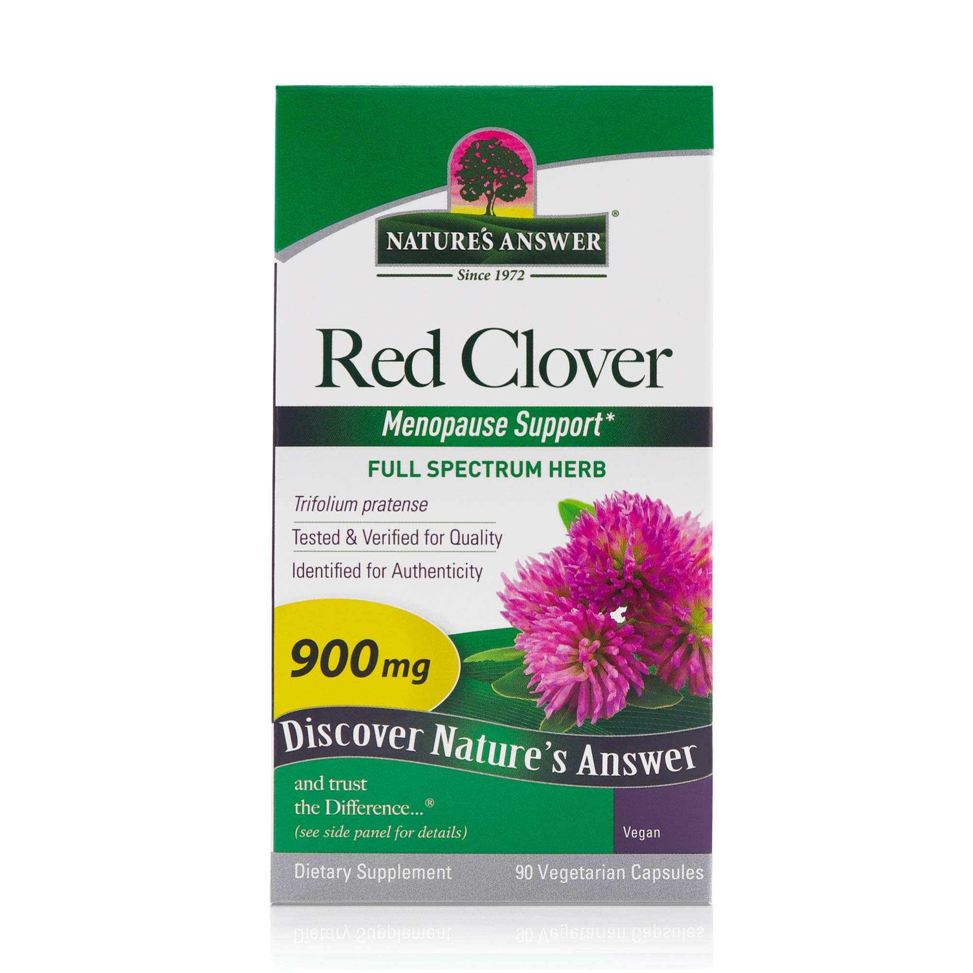 Nature's Answer Red Clover (Trifolium Pratense) | Ideal for Menopause | Full Spectrum Herb Organic | High Strength Dietary Supplement | Kosher, Gluten-Free, Non-GMO, Vegetarian & Vegan (90 Capsules)