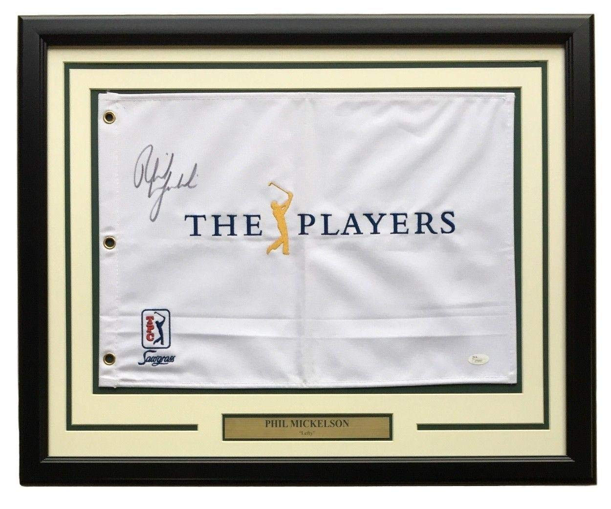Phil Mickelson Signed Framed The Players Golf Flag Z70697 JSA Certified Autographed Pin Flags