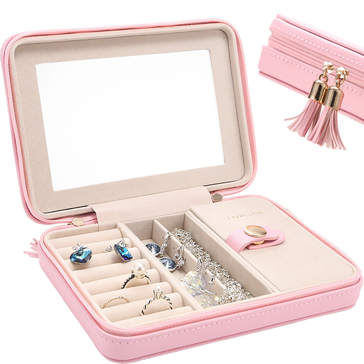 LE Papillion Small Jewelry Box Travel Jewelry Box Jewelry Travel Case Jewelry Organizer with Large Mirror, Gifts for Women, Great Gift Idea(Pink) by LE PAPILLION JEWELRY