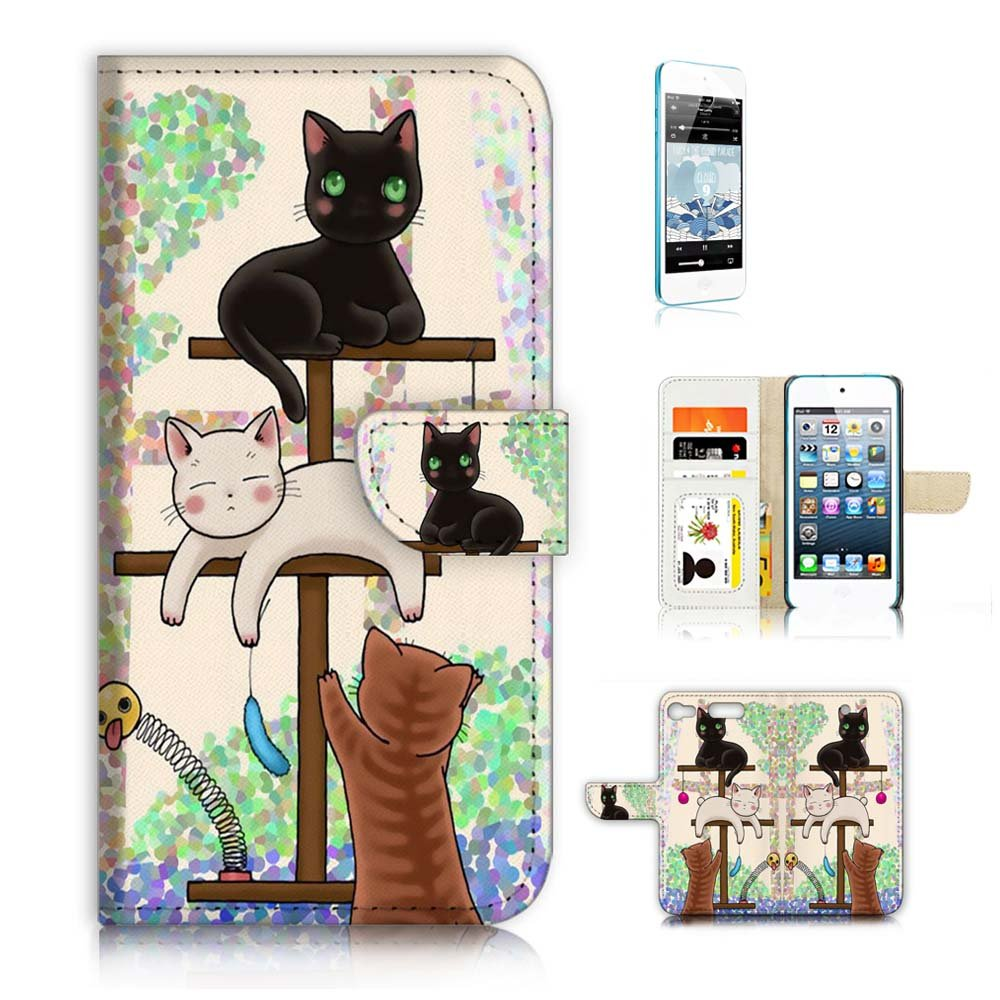( For iPod Touch 6 / iTouch 6 ) Wallet Case Cover & Screen Protector Bundle! A1944 Cat