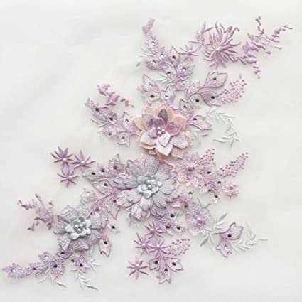 Image Unavailable. Image not available for. Color  Macaron Lace Applique 3D  Flower Embroidery Appliques Beaded Rhinestone ... 82d3e5befc18
