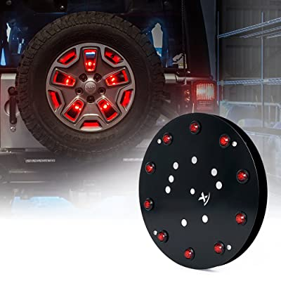 "Xprite 12.5"" Inch Spare Tire Light 3rd LED Brake Rear Wheel Lights third tail Lamp for 2007-2020 Jeep Wrangler JK TJ: Automotive"