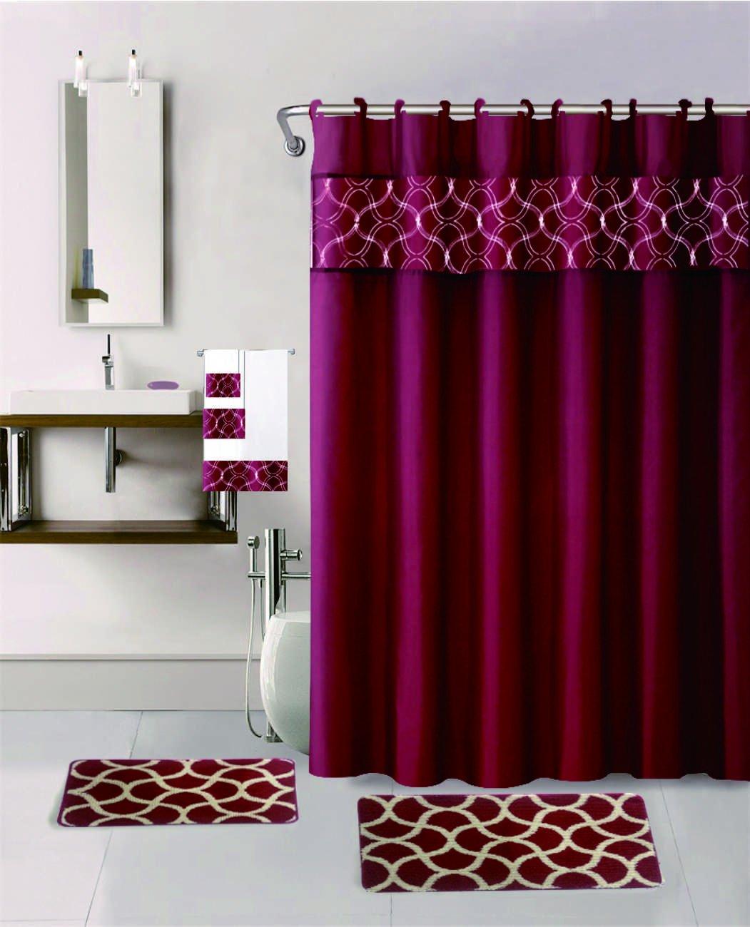 18 Pieces Sage Color Embroidery Geometric Design Bathroom Mats Set Non-slip Rug Carpet, Towels, Shower Curtain and Hooks GoldenLinens