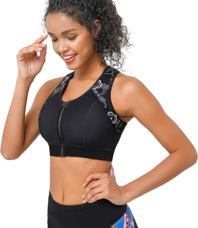 buildup Womens Vest Shirt Fitness With Zip Underwire Cross Mid Sports Bra