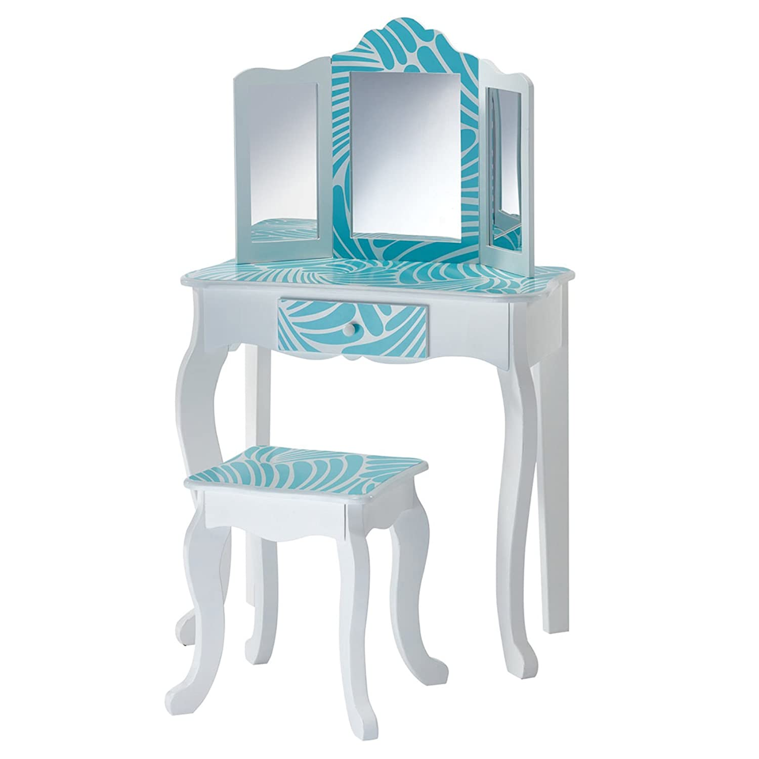 Teamson Kids Fashion Prints Safe Sturdy Eco-Friendly MDF Wooden Vanity Table and Stool Set for Kids 3 Years Up, Tropical Teamson Kíds