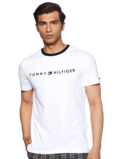 6253dcdaba3 TOMMY HILFIGER Men s Printed Regular fit T-Shirt (P9CMK161 Bright White -Pt Small)