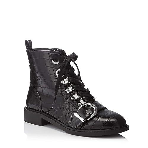 a383448f1 Faith Black Faux Leather Croc Effect Buckle Strap 'Bertie' Flat Ankle Boots  4