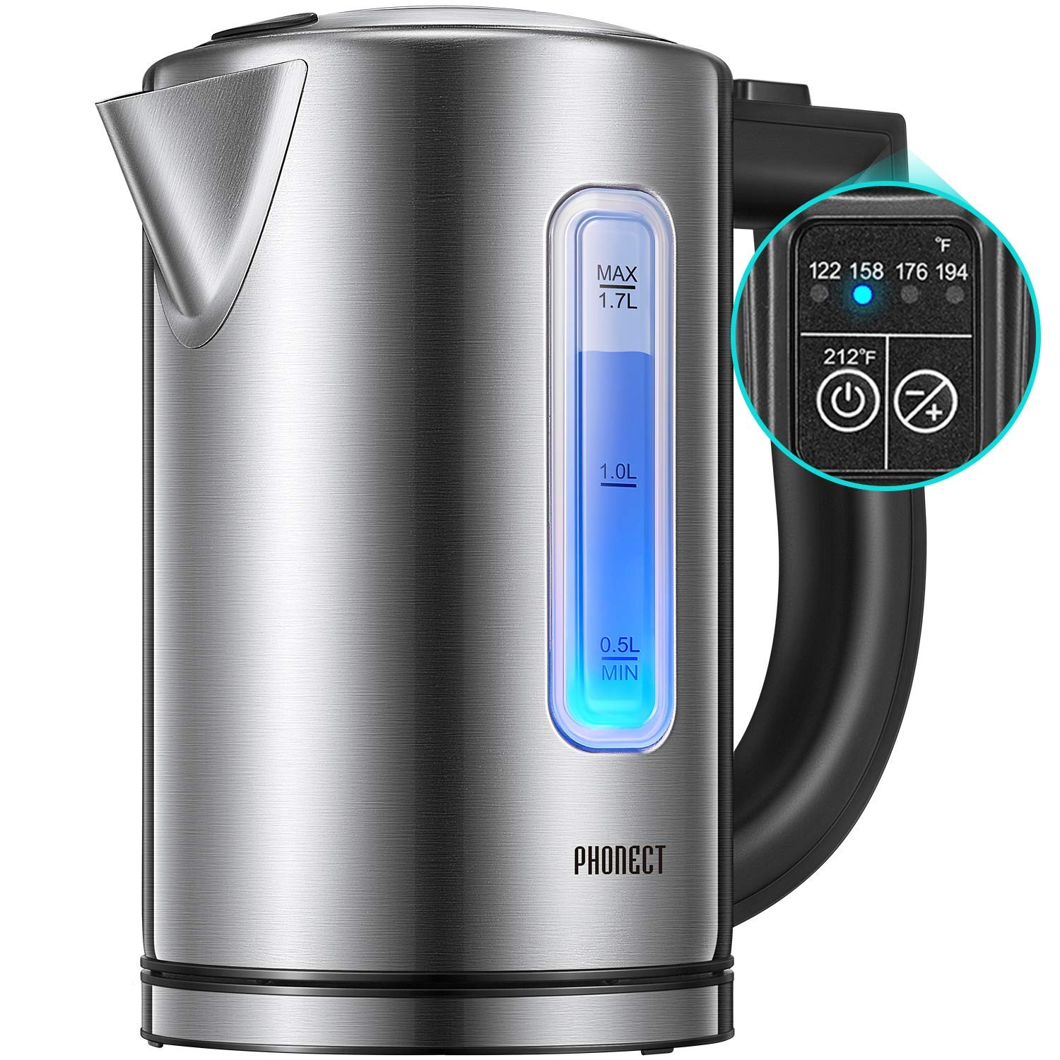 Electric Kettle Temperature Control, 1500W Ultra Fast Water Boiler Cordless Electric Water Heater Kettle with LED Indicator Light, 100 BPA free Window Lid and Gauge, 304 Stainless Steel Kettle ,1.7L, 2 Year Warranty, by Phonect