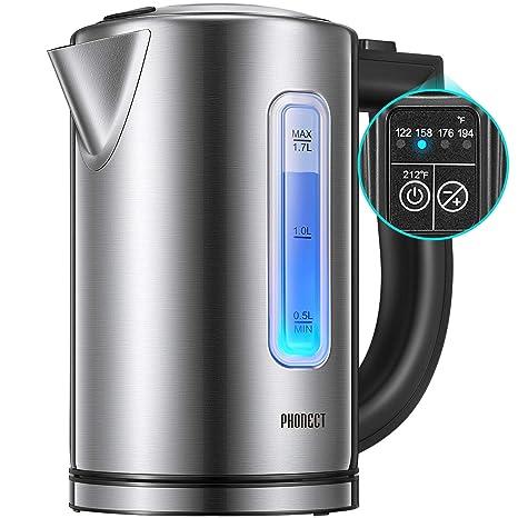 Amazon.com: Tetera eléctrica de 1,7 litros con control de ...