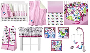 d04268e6e Amazon.com : Botanical 10 pc Crib Bedding Set : Pink And Green Crib Set :  Baby