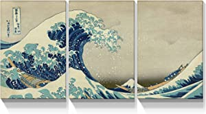 Looife Japanese Painting Canvas Wall Art Decor 3 Piecess 16x24 Inch Katsushika Hokusai Sea Wave Artwork Reproduction Picture Prints Gallery Wrapped Triptych Room Decoration Ready to Hang